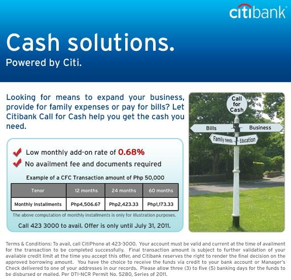 Money Manila: Citibank Call for Cash