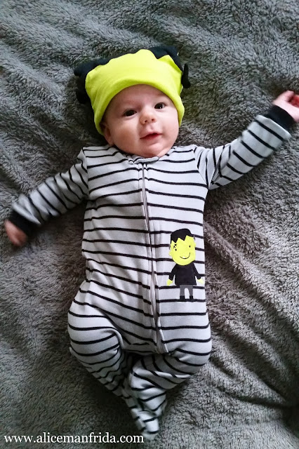 baby, boy, Frankenstein, Halloween, costume, hat, monster, cute, easy, pajamas