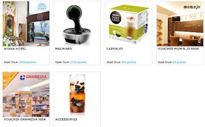 Poin dapat oleh: Ayana Hotel, Machine, Capsules, Voucher MOM N JO 100K, Voucher Gramedia 100K, dan Accessories.