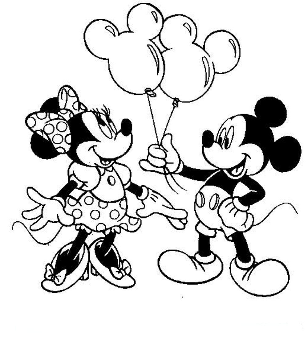 Minnie Mouse And Mickey Mouse Coloring Pages Free Mickey And