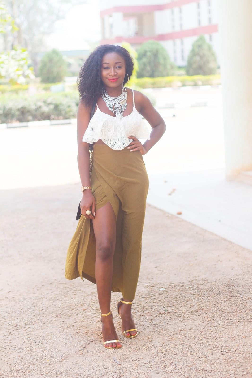 olive green long skirt
