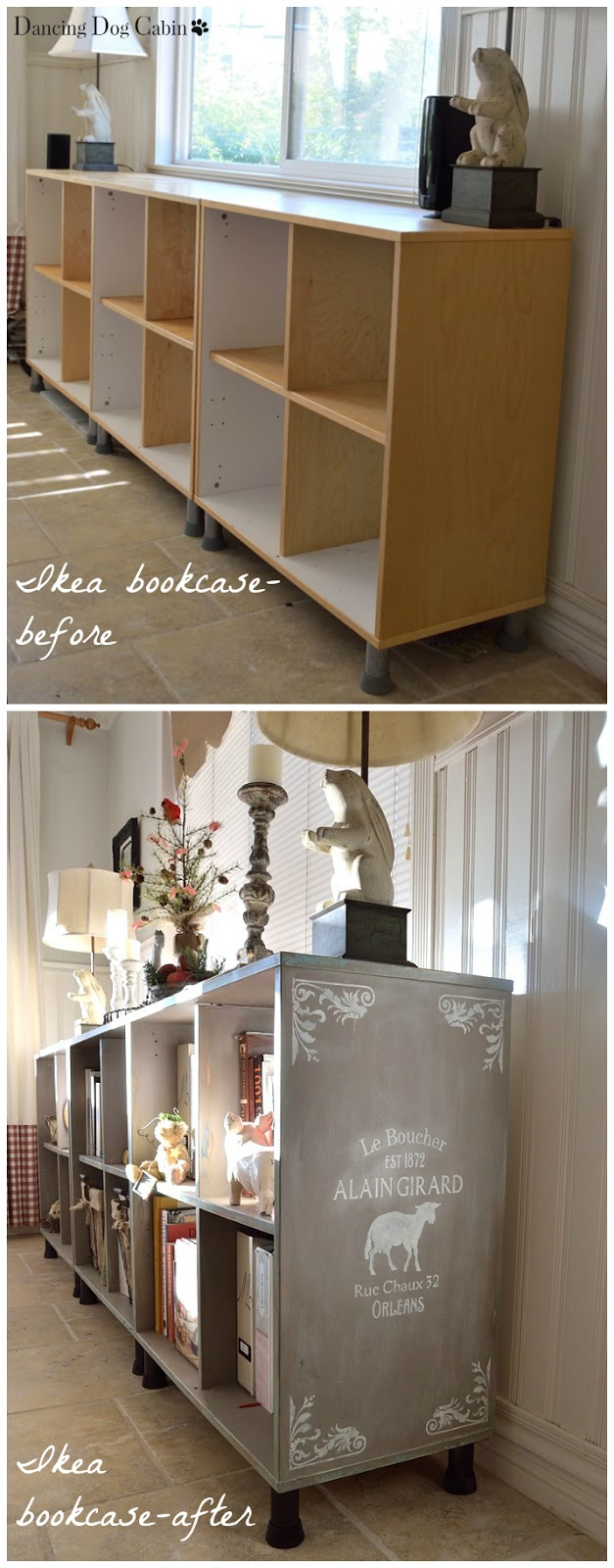 Ikea Expedit Chalk Paint Dancing Dog Cabin How To Transform An Ikea Bookcase
