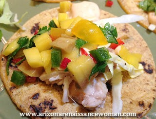 Smoked Swordfish Tacos with Mango Salsa and Cholula Aioli