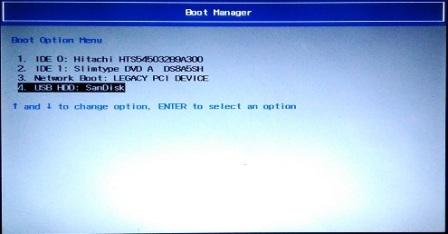 Memilih menu booting untuk instalasi windows