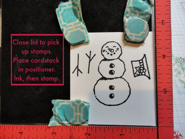 Stamp Positioner Punch Trick -Step 3 - Close lid to pikc up stamps - Place cardstock in positioner - Ink, then stamp