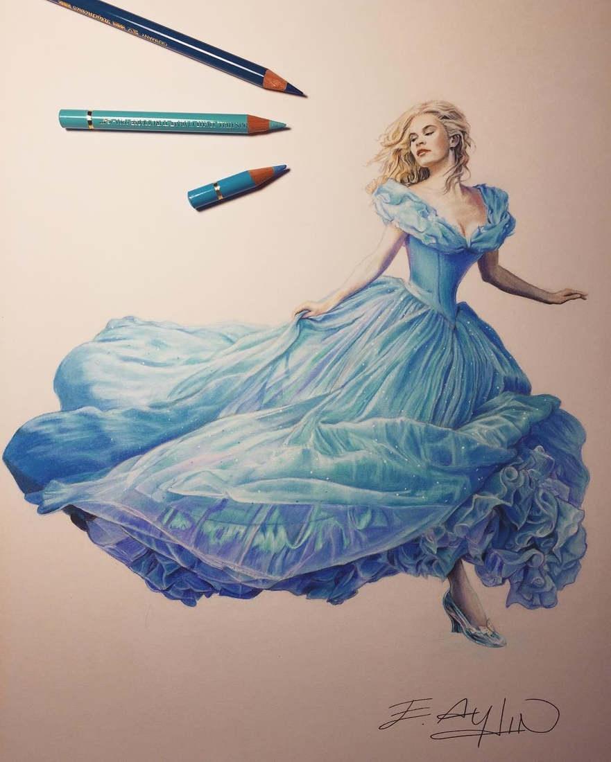 09-Cinderella-Emre-Aydin-Celebrity-Pencil-Drawings-in-Movies-and-TV-www-designstack-co