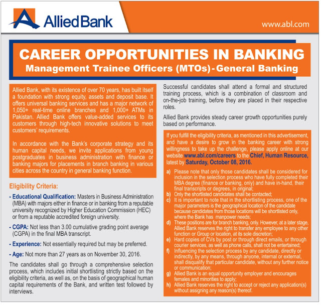 MTOs Jobs in ABL 2016
