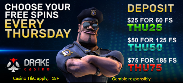 Thursday Free Spins Offer from DRAKE Casino