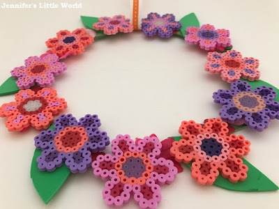 Hama bead flower wreath decoration
