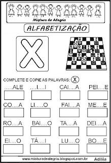 Atividades de alfabetização letra X