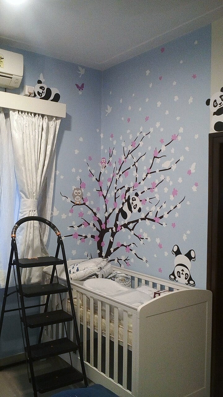 The wall decal blog floral tree with panda wall mural amipublicfo Image collections