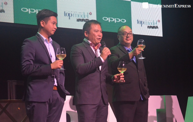 OPPO Marketing Manager Stephen Cheng, TV5 President and CEO Chot Reyes of TV5 and PNTM's Director
