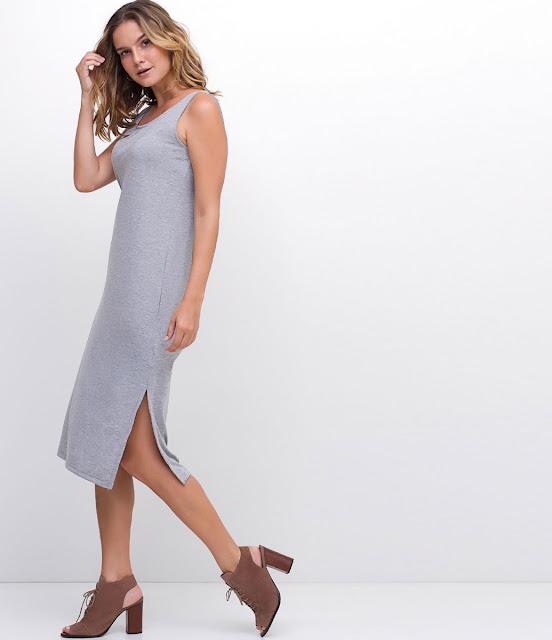 Moda Vestido Midi com Fenda