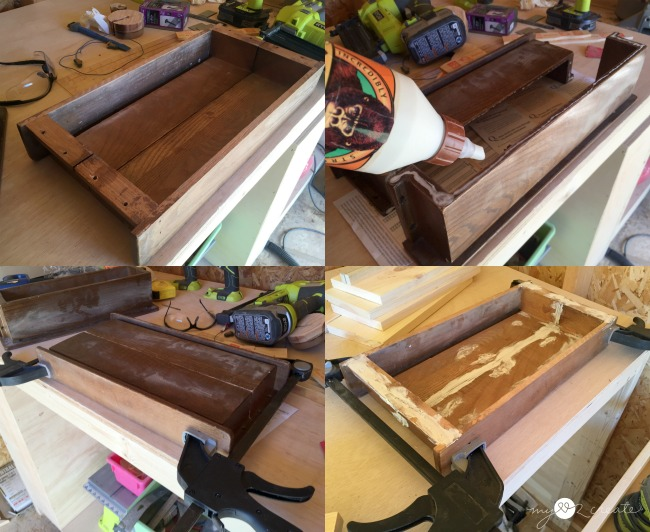 putting hymnbook holders together to make a tray