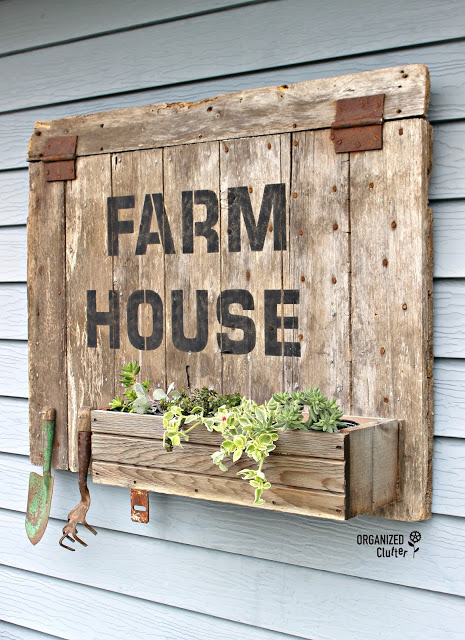 Barn Door Repurposed as Sign/Planter/Garden Tool Holder #oldsignstencils #signs #stencils #farmhouse #barndoor #upcycle #repurpose
