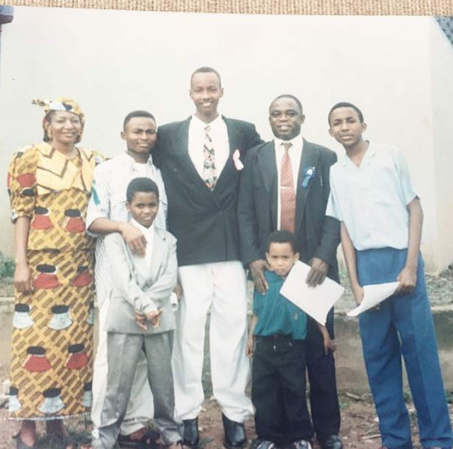 Throwback picture of Banky W and family