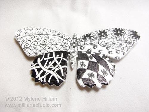 Zentangled die cut butterfly