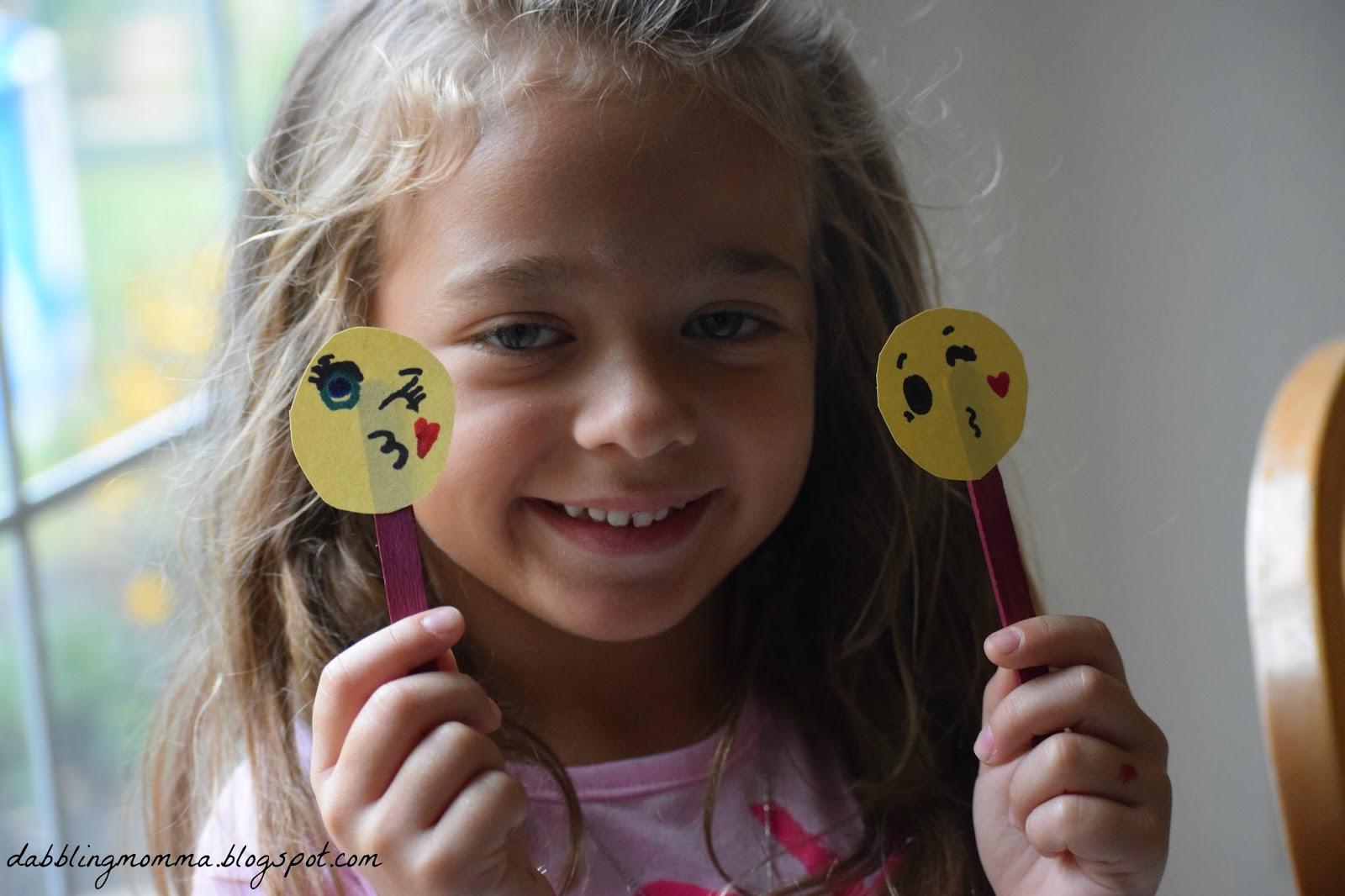 dabblingmomma  emoji balloon and popsicle stick craft