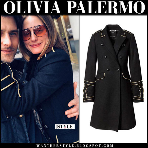303af2fa2bb2 Olivia Palermo with Johannes Huebl in black coat with orange aviator  sunglasses street style april 1