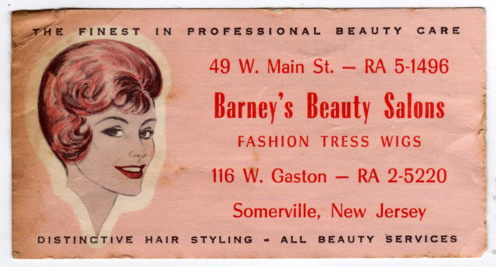 Fashion Nail Beauty Spa Elizabeth Nj: Papergreat: Business Card From Old Beauty Salon In New Jersey