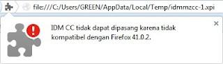 mengatasi IDM tidak dapat digunakan di firefox