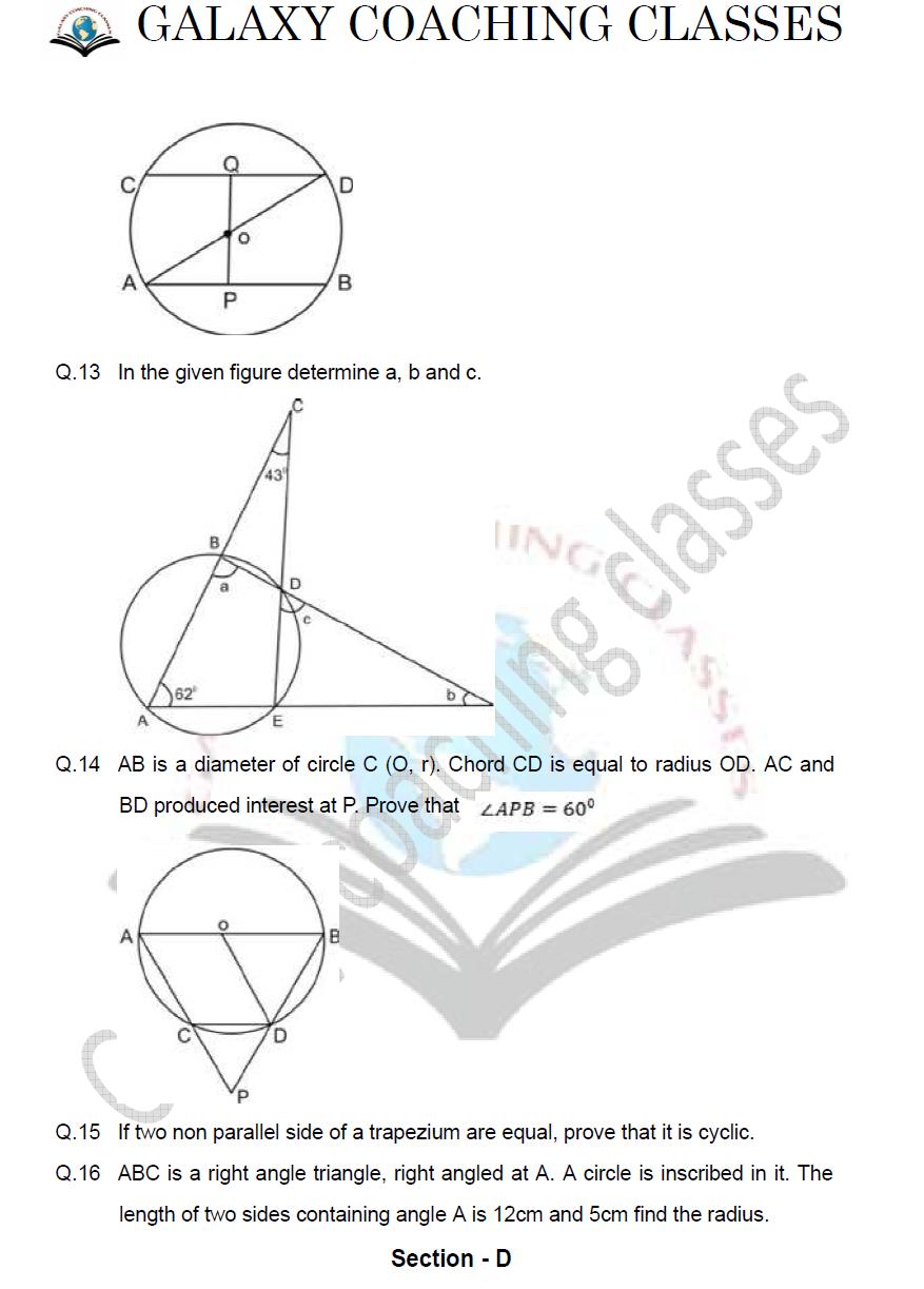 class 9 maths worksheet chapter 10 Circles