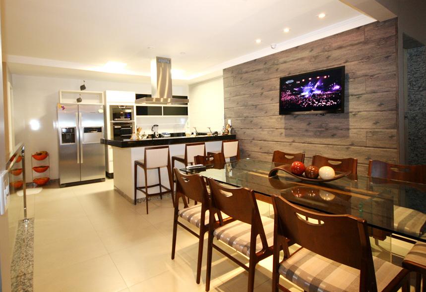 Sala De Tv E Jantar Planejada ~ da sua cozinha com a sala de jantar! Ideia do painel de madeira com TV