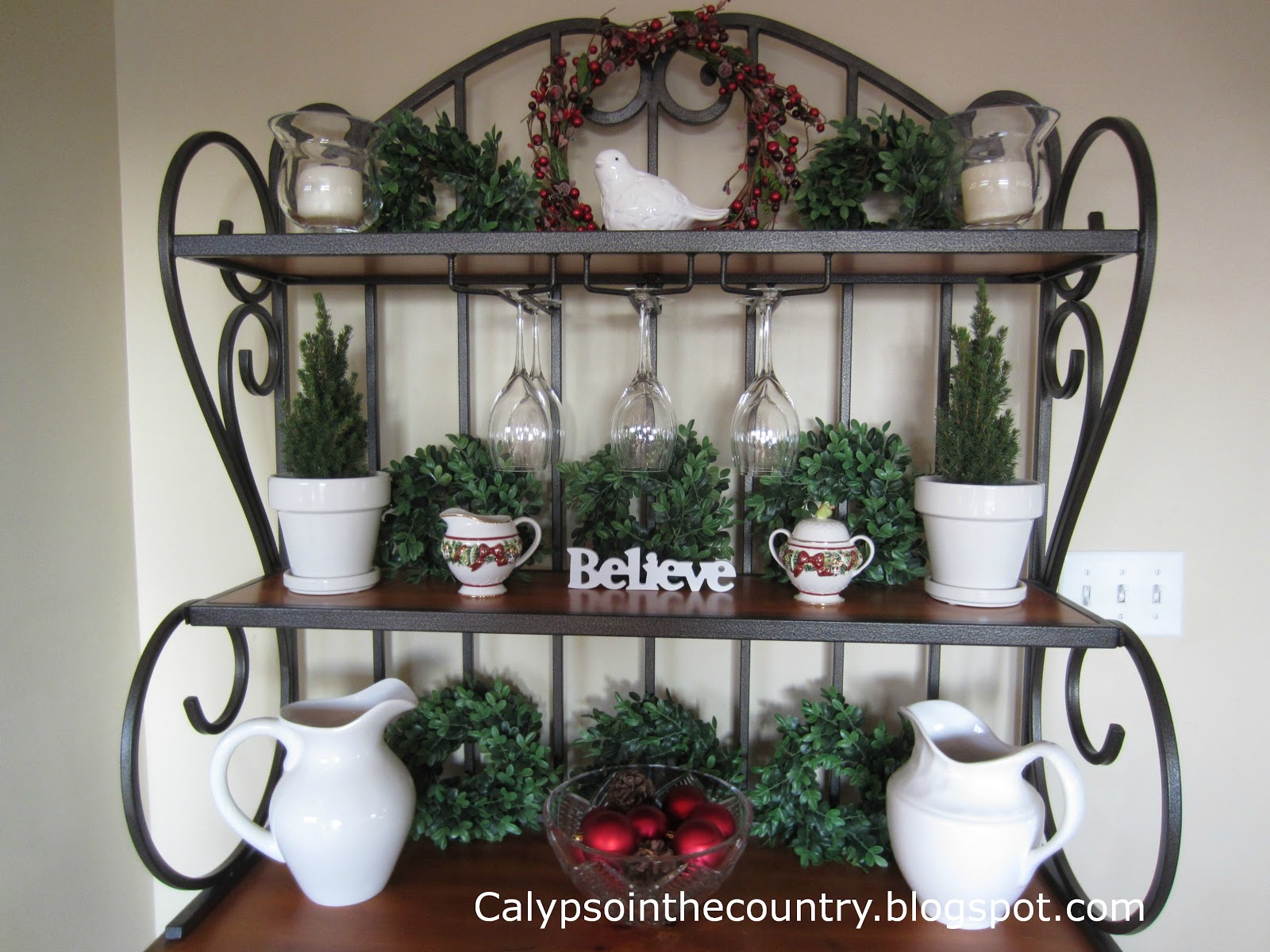decorated bakers rack festive