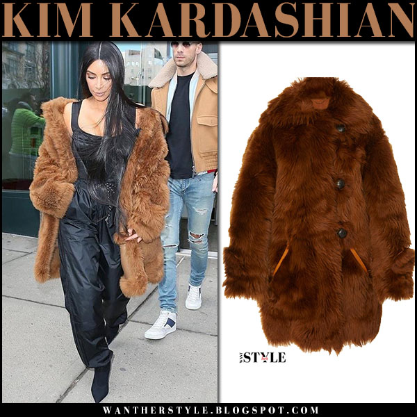 Kim Kardashian in brown fur Coach coat nyfw outfit what she wore 2017