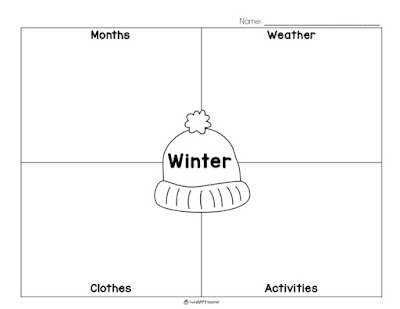 Graphic organizers for winter, spring, summer, and fall