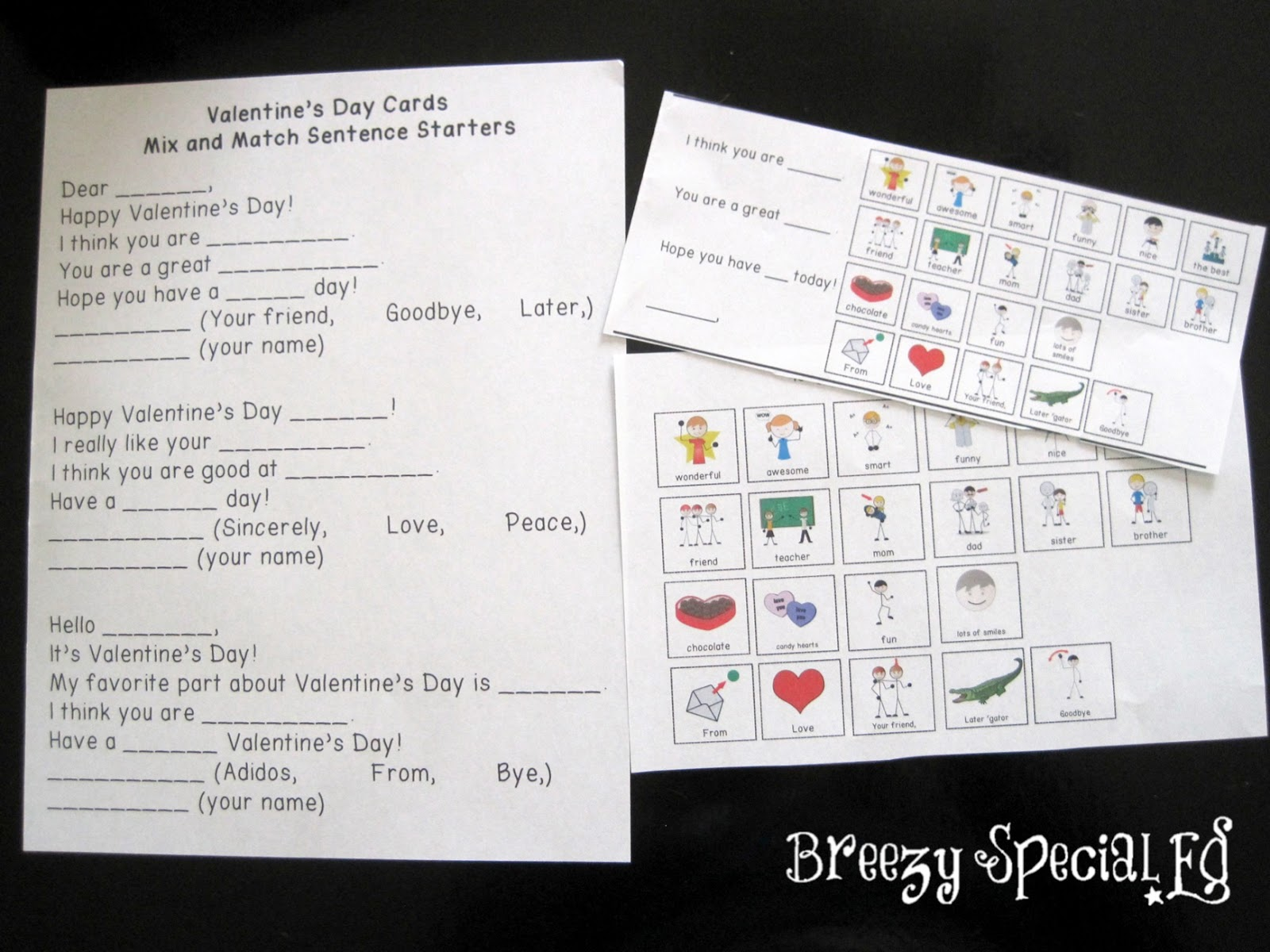 Differentiated Valentine's Day cards for inclusion and special education