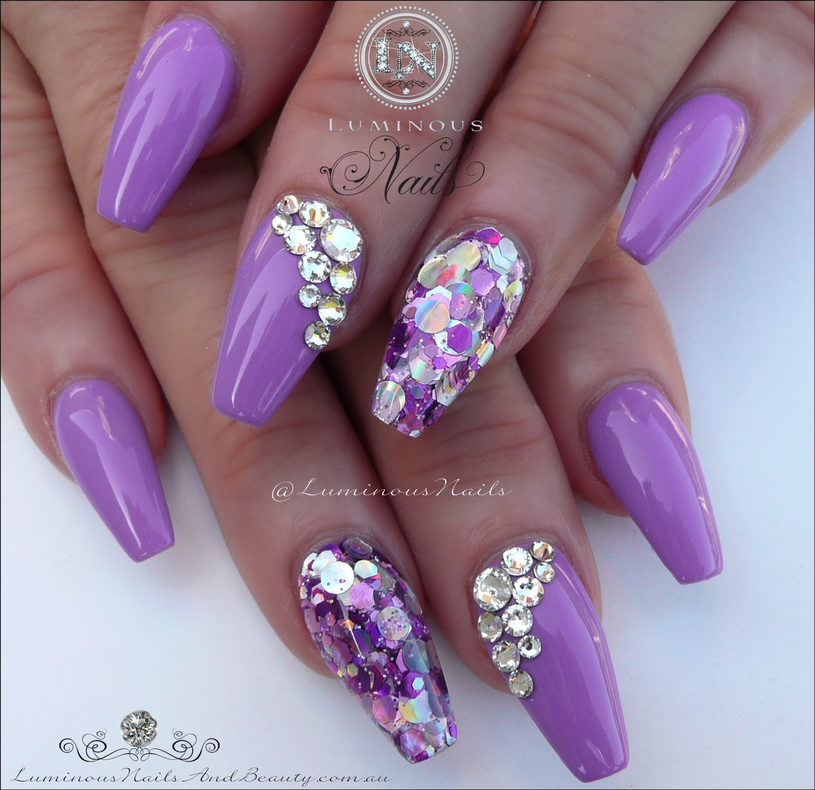 Stunning Mauve Acrylic Nails With Bling