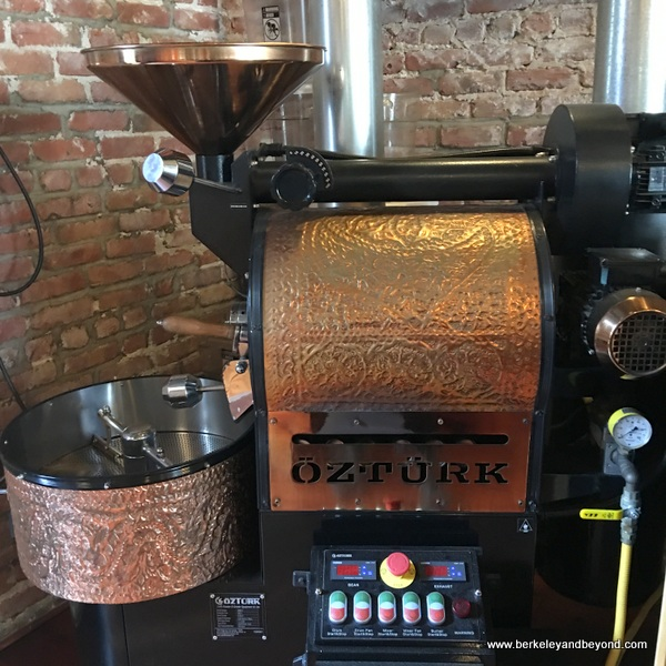 ornate coffee-roasting machine at Way Station Brew in Berkeley, California