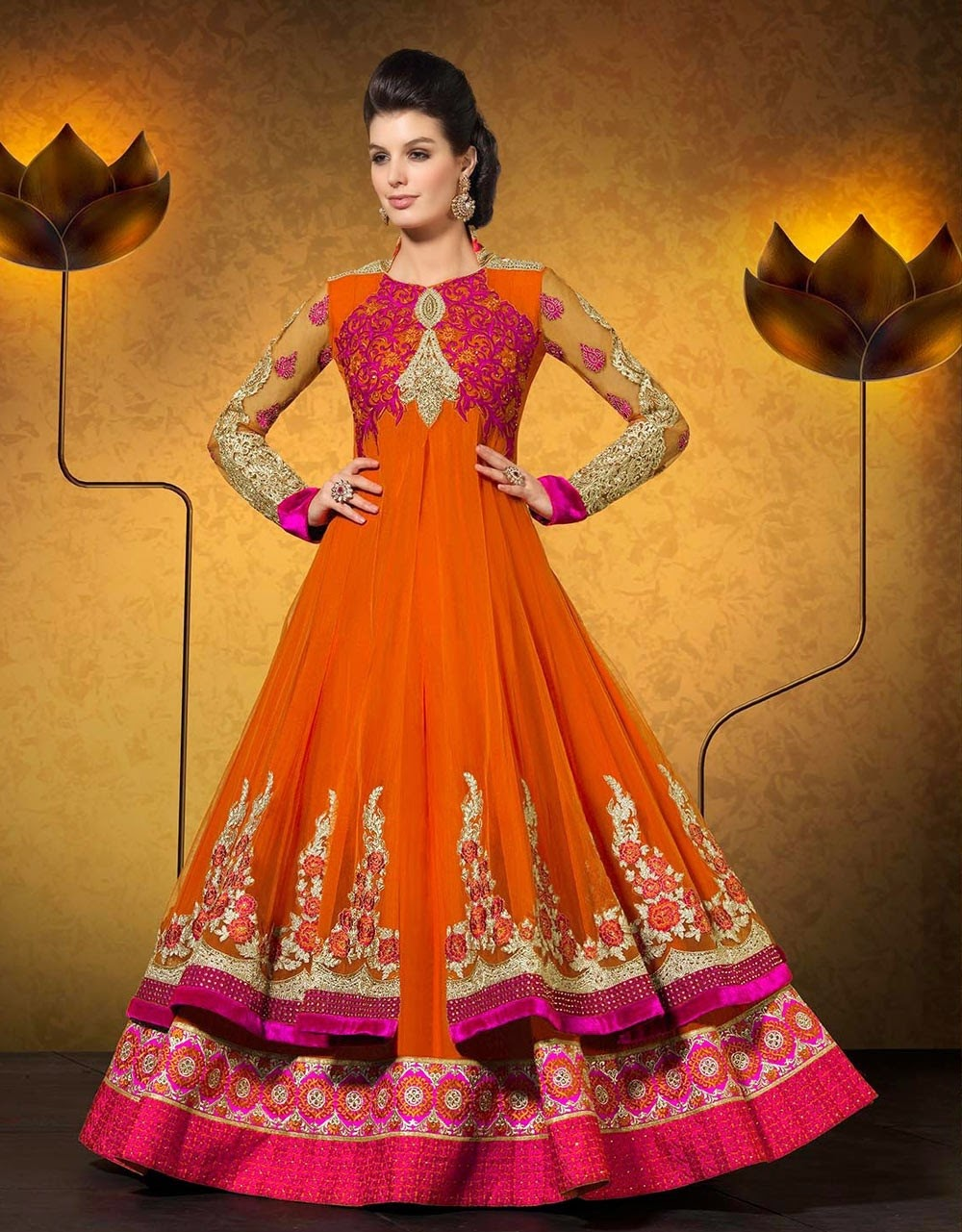 ad1b4d3f3c Attractive Orange Anarkali Suit In Georgette Bollywood Anarkali Salwar  Kameez in Georgette with Butta, Lace, Patch Work, Resham, Stone, Velvet  Patch Work