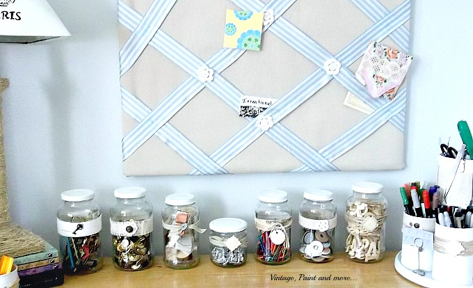 diy embellished jar organization for a craft room