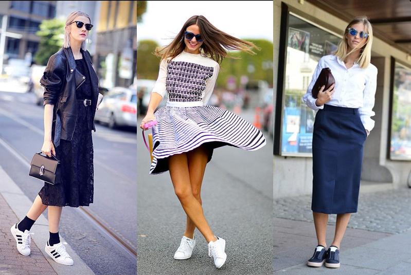 10c5aefd07 Powyżej przykłady 3 stylizacji znalezionych na Pinterest. Dziewczyny  połączyły buty sportowe z sukienką lub spódnicą. Ostatnia jest najbardziej  elegancka.