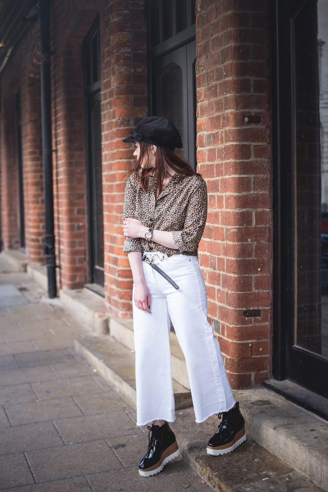 white kick flare jeans
