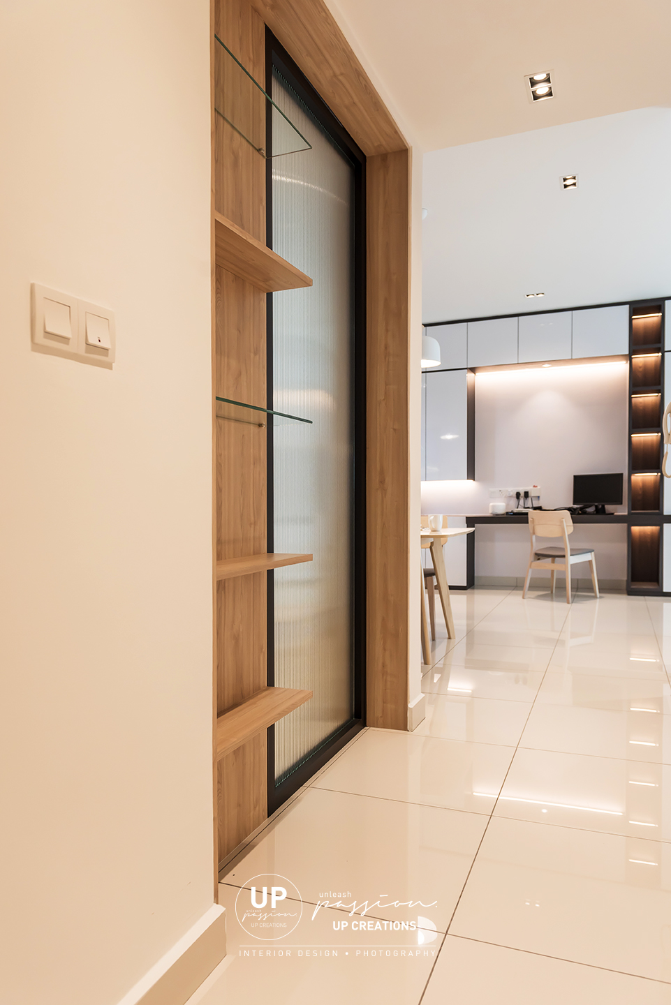 trinity aquata condo corridor with reeded glass panel and wood & glass shelf for more natural light for corridor area