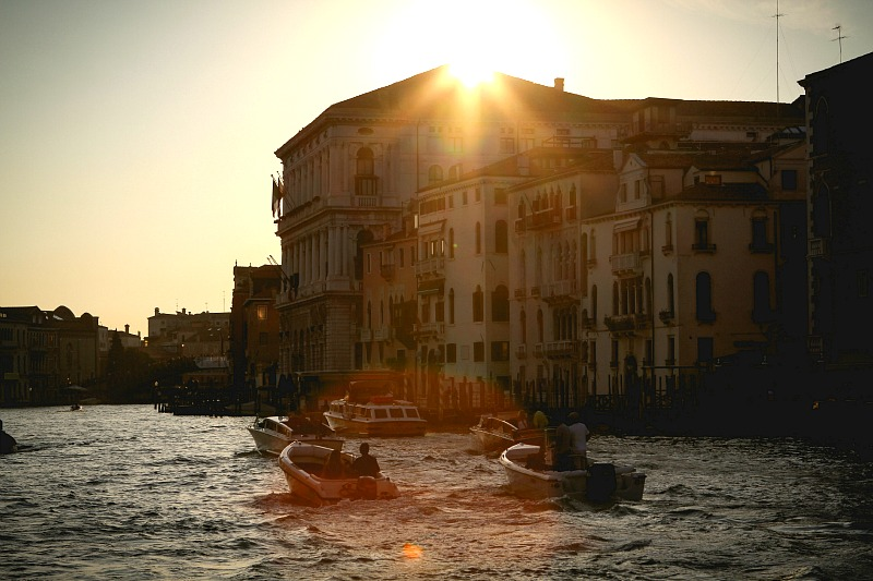 romantic venice at sunset