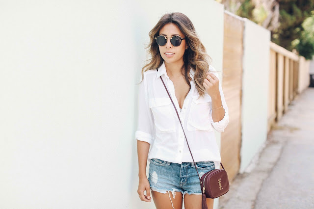 ysl blogger bag, how to wear, casual denim shorts and white tee outfit