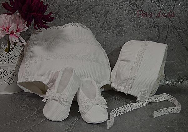 capota y cubrepañal  pique blanco petitdudu