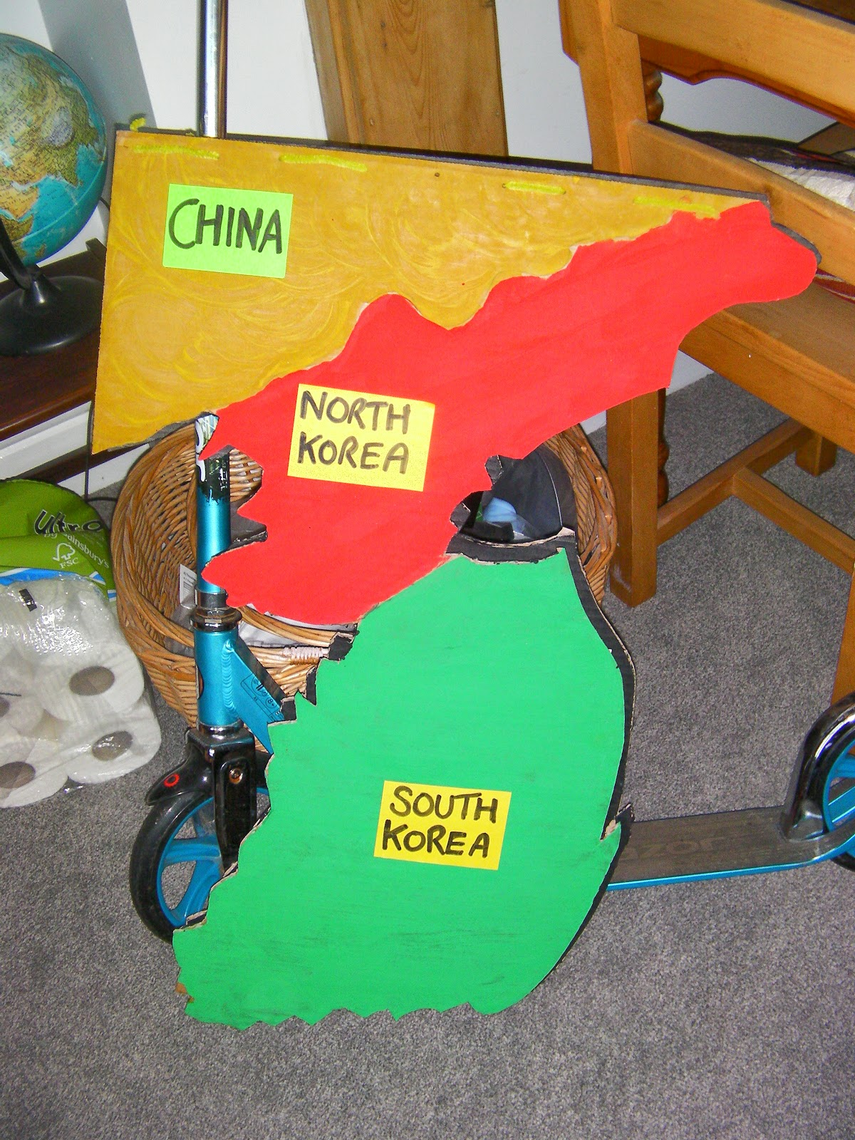cardboard model of north and south korea