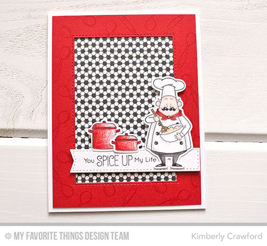 Handmade card from Kimberly Crawford featuring Birdie Brown Recipe for Happiness stamp set and Die-namics #mftstamps
