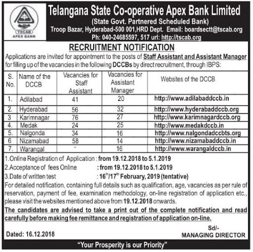 Medak DCCB Recruitment