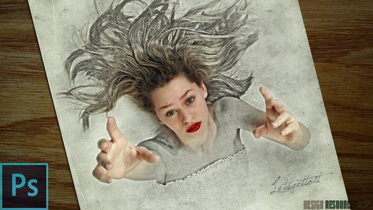 3d sketch drawing effect photoshop tutorial