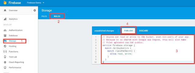 Firebase console -> Storage -> Rules