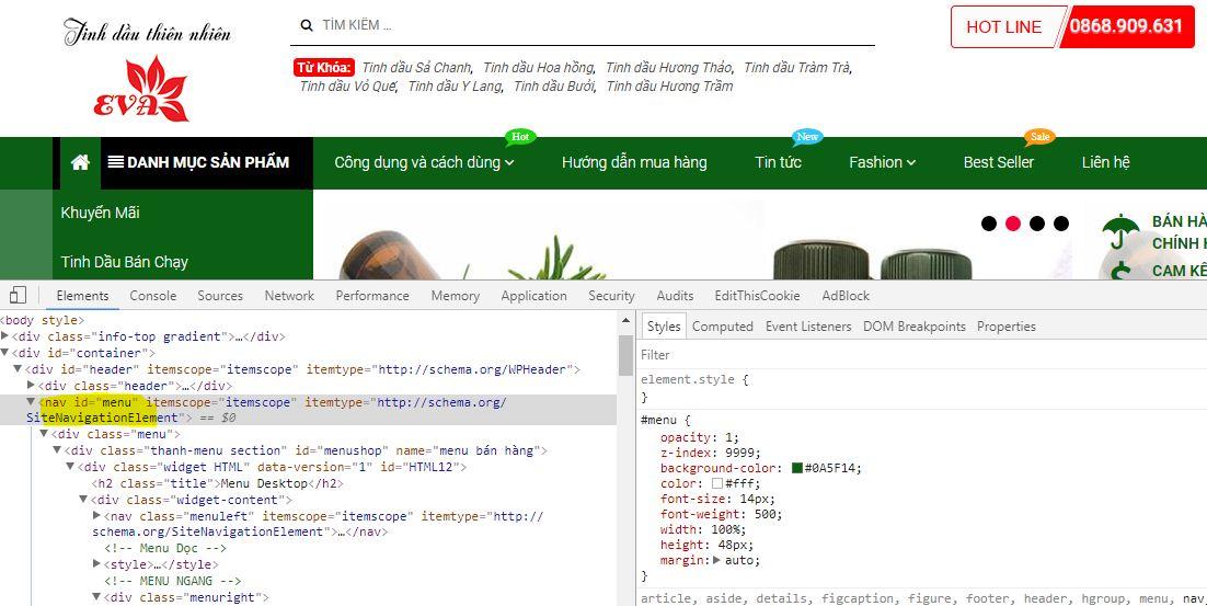 Thay đổi màu sắc trong template TinhDauOnline.Com.Vn