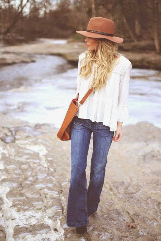 Wearing a Wide Leg Jeans with Hat for Boho Look