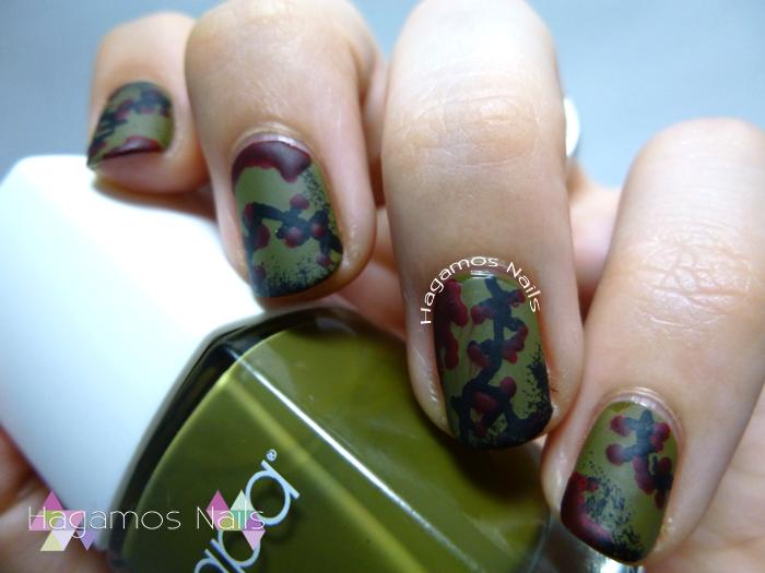 Nail art Zombie Militar. Hagamos Nails