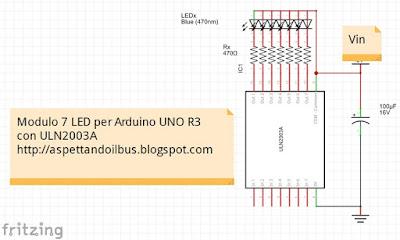 Fig. 2 - Schema elettrico del modulo con 7 LED per Arduino di Paolo Luongo